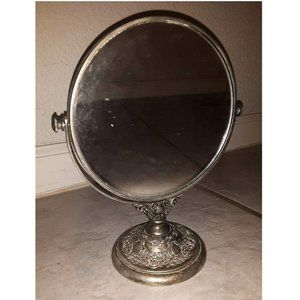 Vintage Bath - Vintage Antique Silver Vanity Makeup Mirror Retro